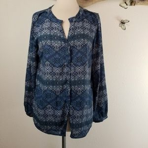 Skies are blue boho tunic top with pleats